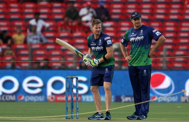 Shane Watson with Steve Smith Before Start of a Match in IPL