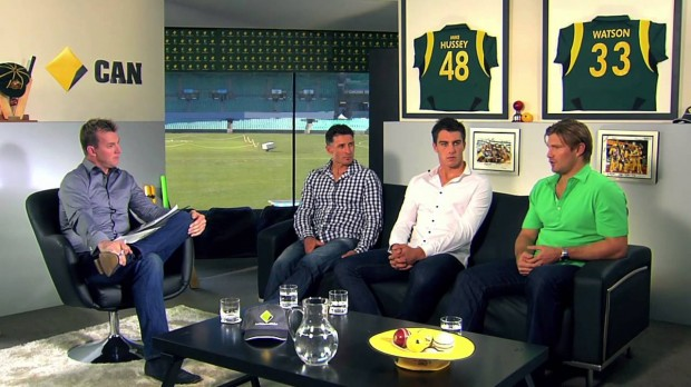Shane Watson with Brett Lee and Mike Hussey during an Interview