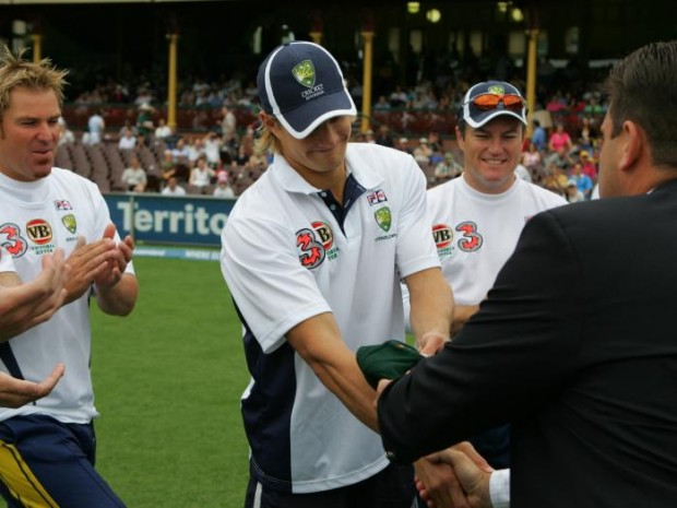 Shane Watson Receiving His Australian Cap From Mark Taylor On His Debut