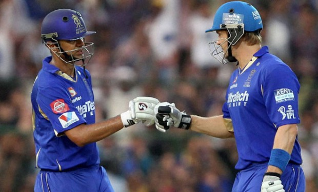 Shane Watson with Rahul Dravid in an IPL Match of Rajastan Royals