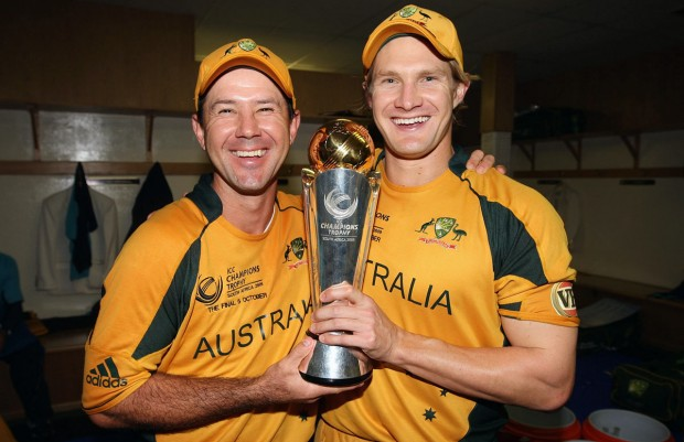 Shane Watson and Ricky Ponting with 2009 Champions Trophy
