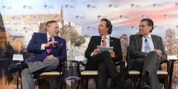 Sheldon Adelson, Haim Saban and Israeli American Council Chairman Shawn Evenhaim at the IAC Conference