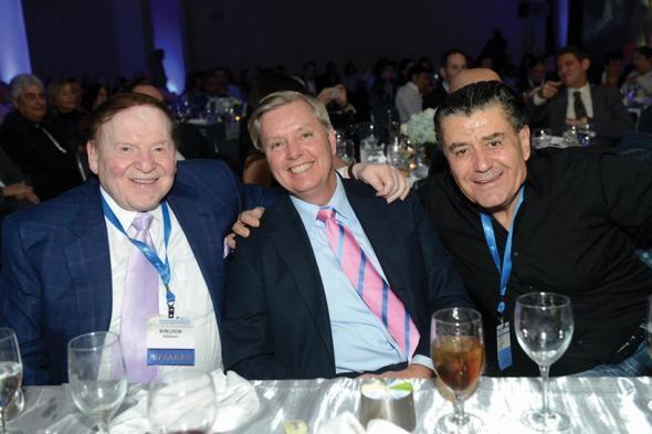 Sheldon Adelson, Sen. Lindsey Graham and Haim Saban