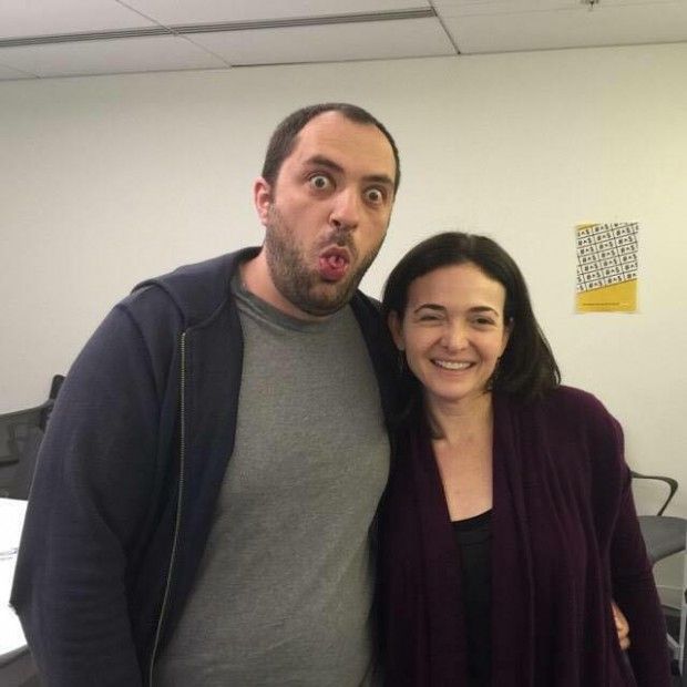 sheryl sandberg, CEO of Facebook with Jan Koum