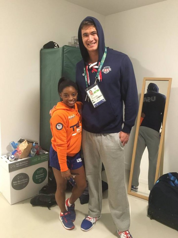 Simone Biles poses with Nathan Adrian