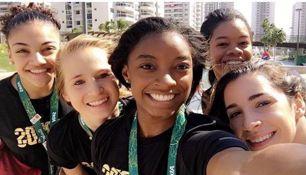 Simone Biles and her teammates at Rio