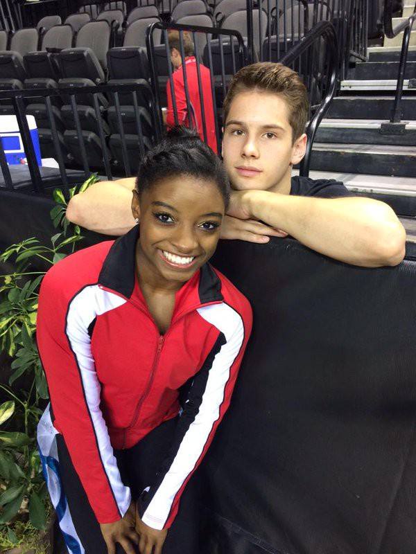 Simone Biles and her friend Alec Yoder