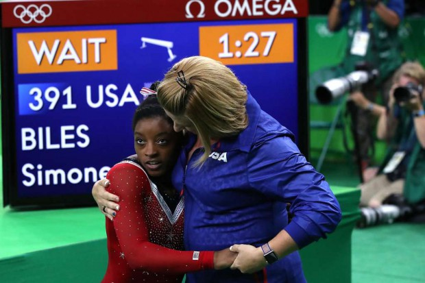 Simone Biles with her coach Biles and her coach Aimee Boorman