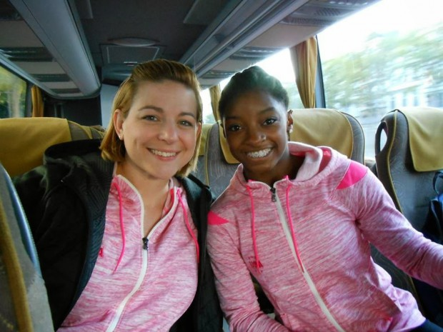 Simone Biles and her coach Aimee Boorman