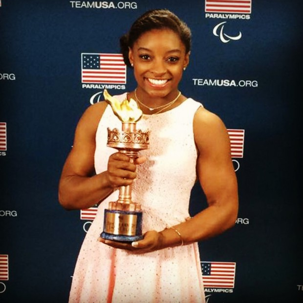 Simone Biles with her USOC's Female Olympic Athlete of the Year