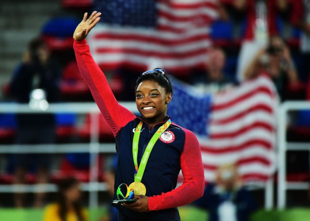 Simone Biles after winning the all-around competition at the 2016 Olympics