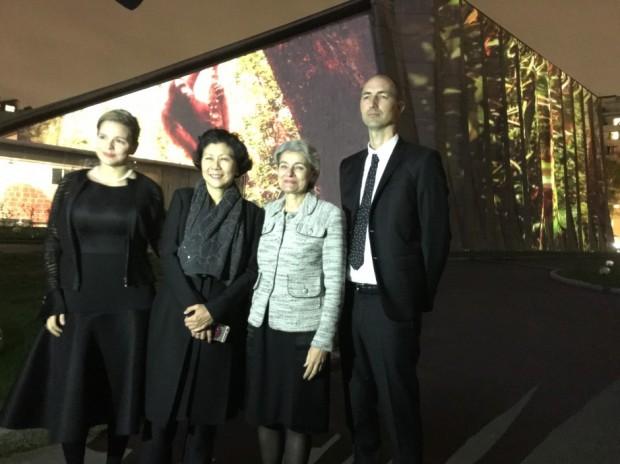 Solina Chau With Irina Bokova and Mia Hanak, Chris Lejeune