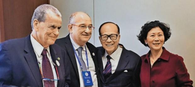 Solina Chau With Li ka Shing, Aaron Ciechanover and Peretz Lavie