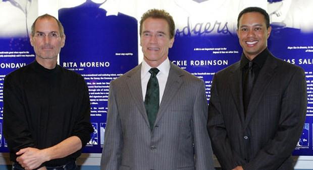 Steve Jobs, Arnold Schwarzenegger and Tiger Woods