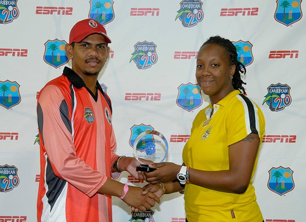 Sunil Narine accepts his Star of the Match award from Danielle Small