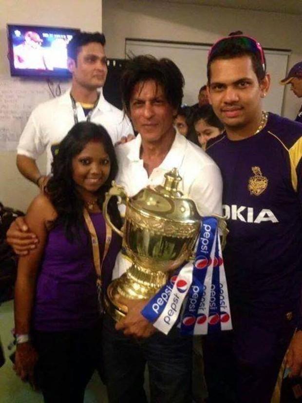 Sunil Narine with Shahrukh Khan