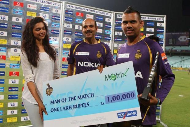 Sunil Narine With Deepika Padukone