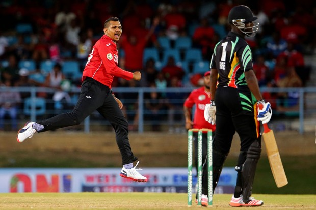 Sunil Narine celebrates after winning the match