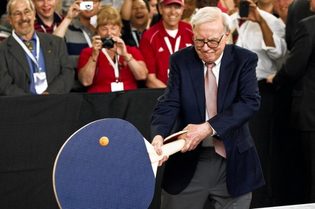 Warren Buffet Playing Table Tennis with Over sized Bat