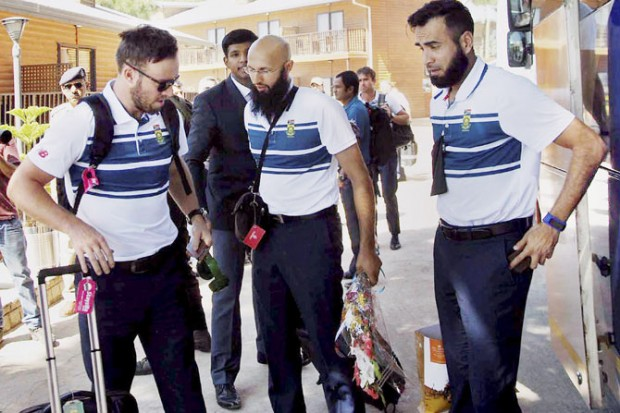 Imran Tahir With AB Devilliers and Hashim Amla