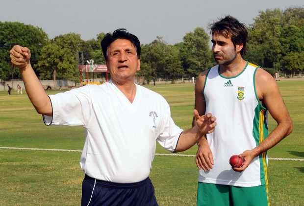 Imran Tahir With His Coach Abdul Qadir