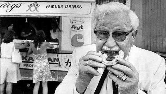 Sanders tasting kfc food