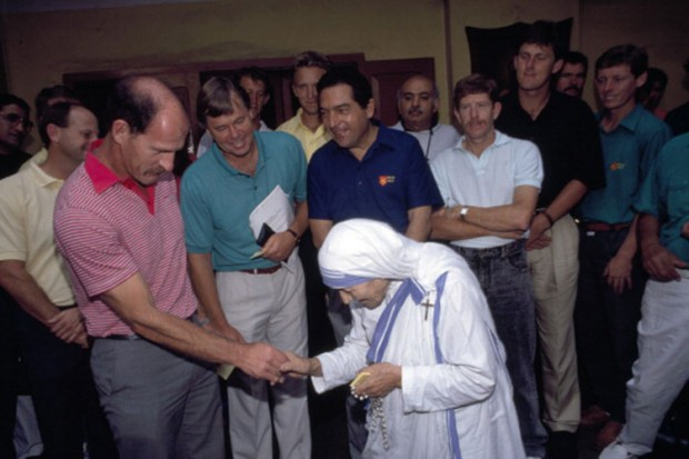 South Africa team led by Clive Rice meeting Mother Teresa on their India tour in 1991