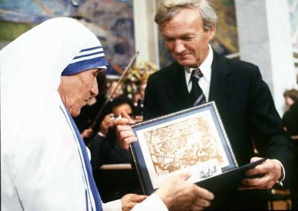 Mother Teresa Receiving Nobel Peace Prize