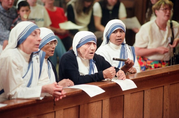 Mother Teresa in a church in Liverpool