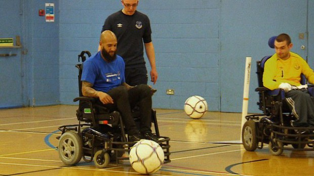 Tim plays wheelchair football