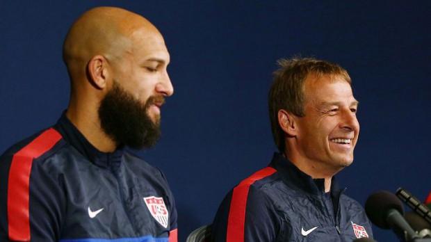 Tim with Jurgen Klinsmann in a press conference
