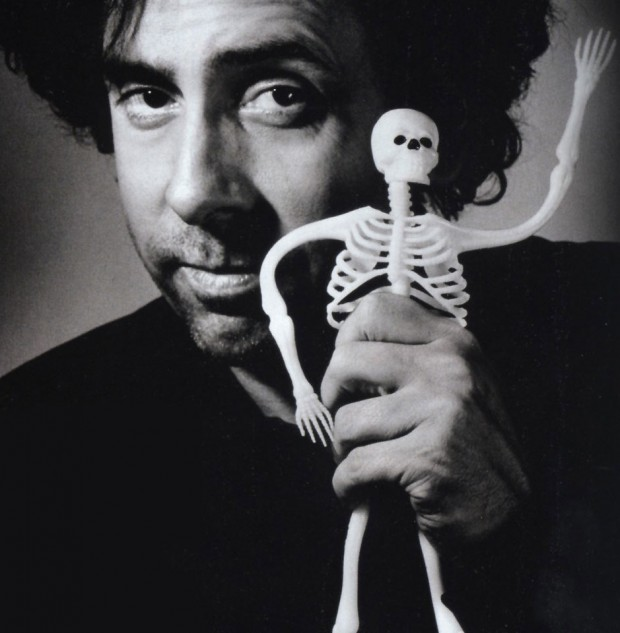 Tim Burton Posing With Skelton