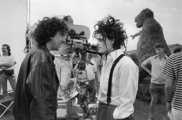 Tim Burton and Johnny Depp on the set of Edward Scissorhands