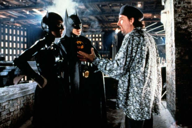 Michelle Pfeiffer, Michael Keaton with Tim Burton on the set of 'Batman'
