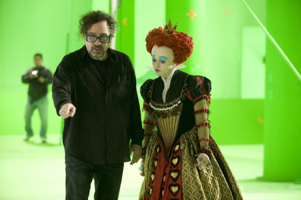 im Burton and Helena Bonham Carter while making 'Alice in Wonderland'