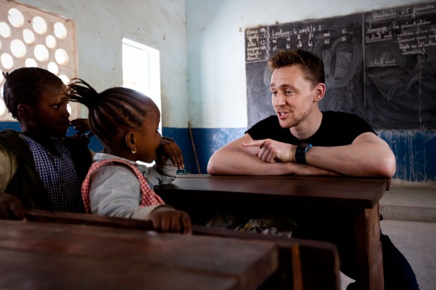Tom visiting children at Ecole Layiya, Guinea during his UNICEF campaign