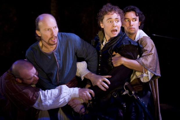 Tom Hiddleston as Cassio in Shakespeare's Othello.