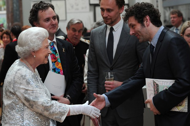 Tom Hiddleston with the Queen