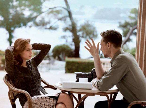 Cara Delevingne and Tom Hiddleston during photoshoot for Vouge