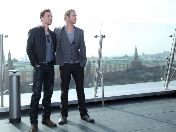 Tom Hiddleston and Chris Hemsworth at the photo call for The Avengers in Moscow