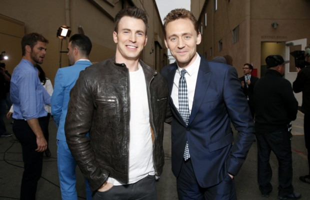 The Avengers Stars Captain America, Chris Evans and Loki, Tom Hiddleston