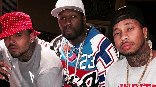 Tyga with Chris Brown and 50 Cent