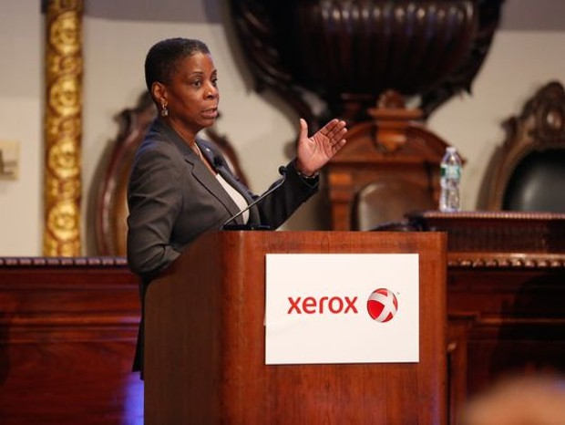 CEO Ursula Burns addresses at company's annual conference