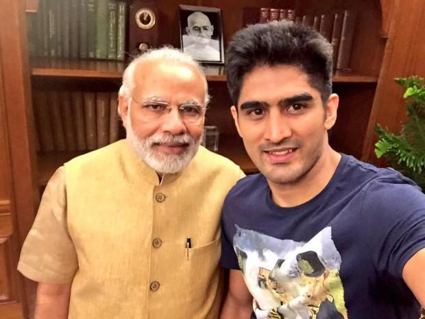 Vijender's selfie with Indian prime minister Narendra Modi