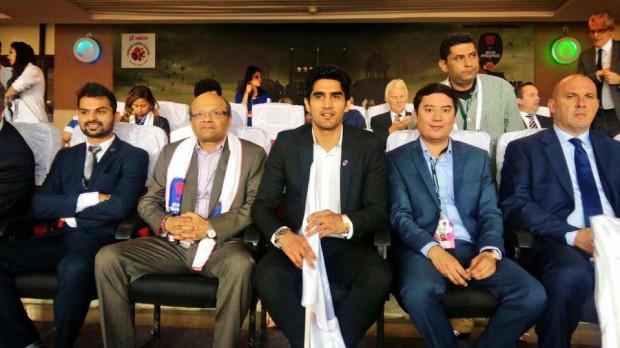 Vijender Singh watching ISL football match