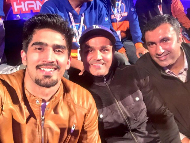Vijender with Sehwag and Anirudh during a Kabbadi game