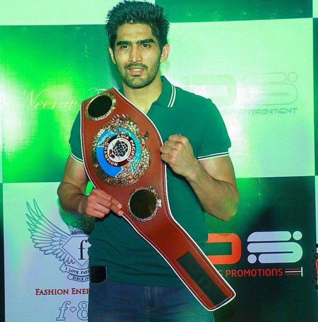 Vijender Singh with his WBO Asia Pacific Championship