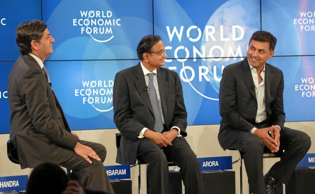 Nikesh Arora, P Chidambaram and Vikram Chandra at World Economic Forum