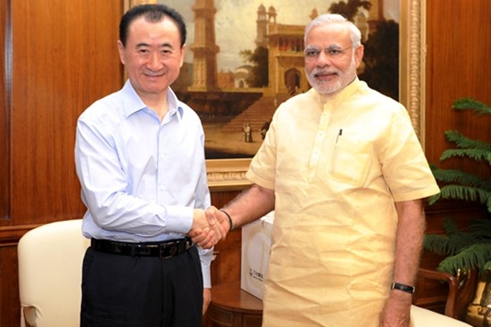 Wang Jianlin meets Indian Prime Minister Narendra Modi