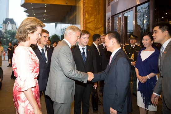 Wang Jianlin meets with King Philippe and Queen Mathilde of Belgium
